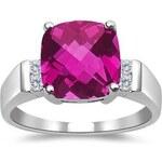 Klenota Prsten s růžovým topazem a diamanty