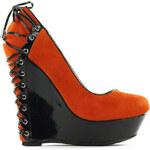 Glam Dámské extravagantní boty na platformě - klínku oranžové - 36