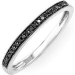 Stříbrný prsten s černými diamanty