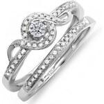 Stříbrný zásnubní a snubní prsten