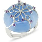Stříbrný prsten s modrým nefritem a ametysty