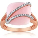 Stříbrný prsten s opálem a diamanty