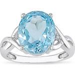 Stříbrný prsten s topazem a diamanty