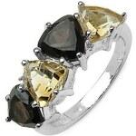 Stříbrný prsten s topazy a citríny