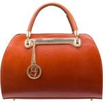 Kožená kabelka matná se zipem - oranžovo hnědáGlamorous by Glam