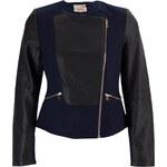 Glam Dámská teplejší koženková bunda - modrá - S