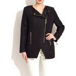 Glam Dámský černý kabátek se vzorem a zlatými aplikacemi - M