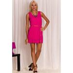 Dámské plizované šaty letní fuchsiová - Uni (S-L)Glamorous by Glam