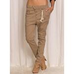 Dámské béžové kalhoty s nízkým sedem - XSGlamorous by Glam