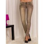 Glam Dámské kalhoty s kamínky - béžová - S