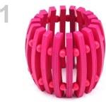 Stoklasa Náramek dřevěný pružný výška 5,5cm (1 ks) - 1 růžová neon