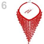 Stoklasa Náhrdelník a náušnice z dřevěných korálků (1 sada) - 6 červená