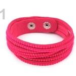 Stoklasa stok_240501 Náramek s broušenými kamínky dvojitý (1 ks) - 1 růžová neon