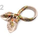 Stoklasa Saténový šátek 57x57 cm s květinovým potiskem (1 ks) - 2 krémově bílá