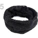 Stoklasa Pletený nákrčník 35x130 cm s flitry (1 ks) - 5 černá