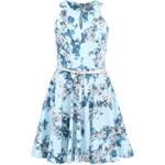 Světle modré květované šaty s páskem Closet