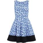 Modré šaty s plameňáky a černým lemem Closet