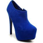 Výstřední modré kotníkové boty