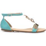 Oslnivé modré dámské sandály
