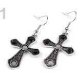 Stoklasa Náušnice kovové kříž (1 pár) - 1 šedá