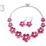 Stoklasa Náhrdelník a náušnice KYTIČKY (1 sada) - 3 růžová malinová