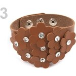 Stoklasa Náramek s květy a kamínky (1 ks) - 3 hnědá