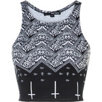 Tally Weijl Black & White Patterned Crop Top