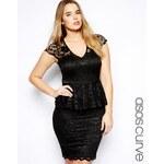 ASOS CURVE Exclusive Peplum Dress In Lace - Black