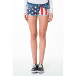 "Tally Weijl Blue ""USA Flag"" Print Denim Shorts"