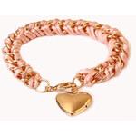 Forever 21 Heart Locket Woven Chain Bracelet
