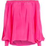 Balmain Off-the-Shoulder Silk Blouse