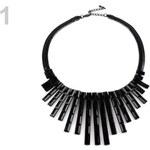 Stoklasa Kovový náhrdelník s kameny (1 ks) - 1 černá