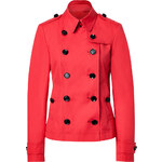 Burberry Brit Orange Red Short Cotton Poplin Dukesby Trench Coat
