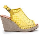 SERGIO TODZI Famózní a pohodlné žluté sandály na klínku - T065Y /S2-39P