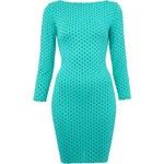 Elegantní zelené minišaty s puntíky LA FEMME