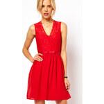 Damson Dámské jasně červené krajkové šaty