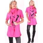 Redial Módní růžová tunika se srdíčkem + šátek