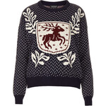 Topshop Knitted Stag Crest Jumper