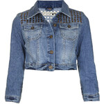 Topshop MOTO Stud Cropped Denim Jacket