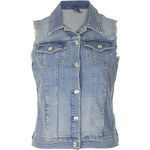 Topshop Internet Exclusive - Bleach Sleeveless Denim Jacket