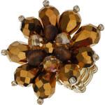 Prsten s hnědou květinou LA FEMME
