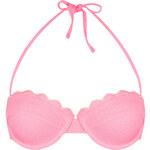 Topshop Pink Scallop Texture Bikini Top