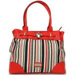 Červená pruhovaná kabelka Elite 2632 červená