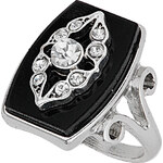 Topshop Silver Plaque Rhinestone Ring