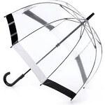 Průhledný deštník Fulton BIRDCAGE-1 - FLORENCE černo-bílý