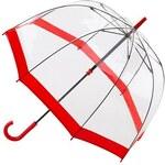 Průhledný deštník Fulton BIRDCAGE-1 - FLORENCE červený