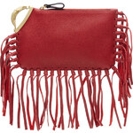 Valentino Scarab Fringed Leather Clutch