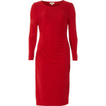 Červené midi šaty s detailem LA FEMME