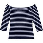 Tally Weijl Blue & White Striped Off Shoulder Top