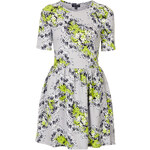 Topshop Textured Floral Flippy Dress